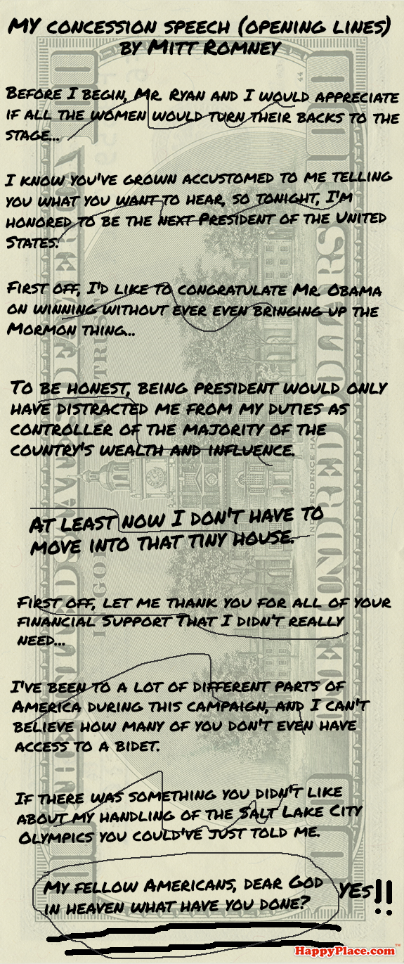 Rejected opening lines from the concession speeches of Romney and Obama.