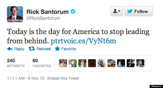 The most unintentionally homoerotic Rick Santorum tweet you'll read this Election Day.