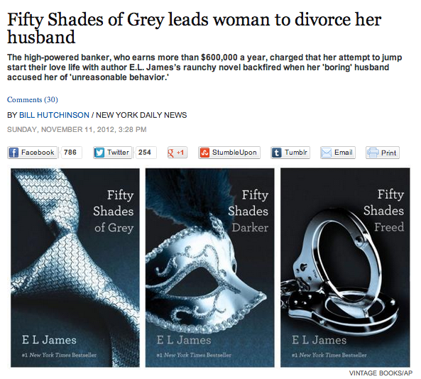 Women now divorcing their husbands so they can spend more time with Fifty Shades Of Grey.