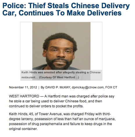 Thief who stole Chinese delivery car made sure the people still got their Chinese food.
