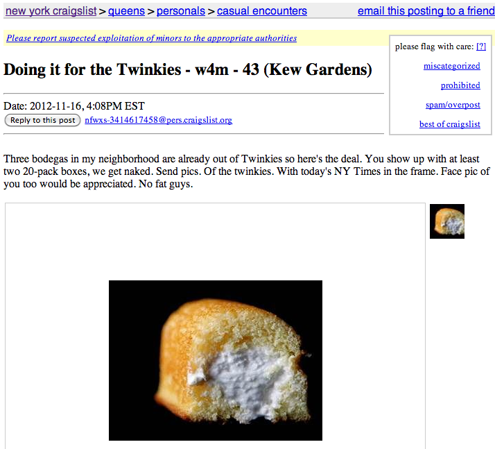 People now offering sex and money in exchange for Twinkies on Craigslist.