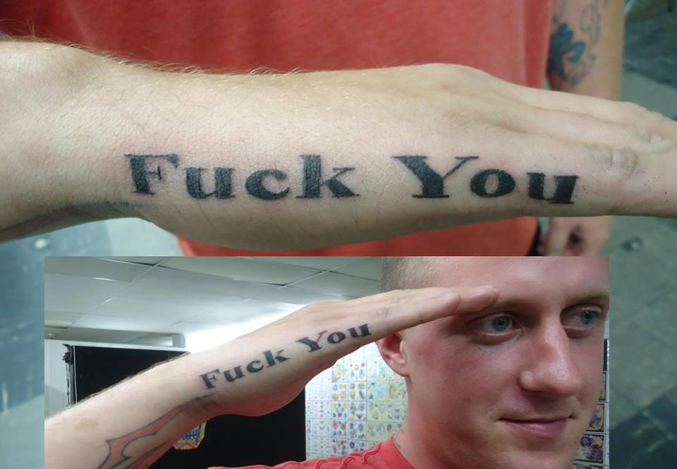 Veteran gets the one tattoo that guarantees he won't be called back to service.