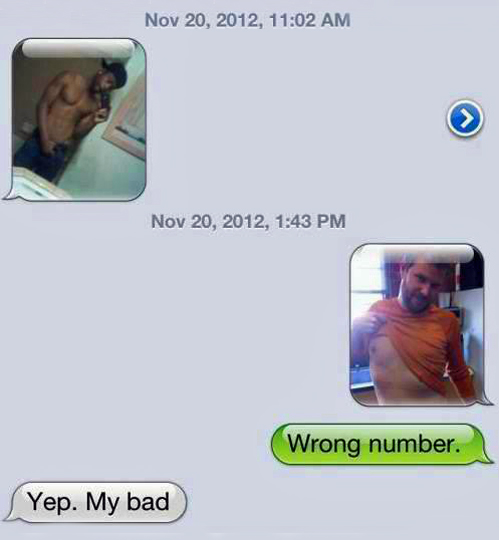 Man responds in best way possible to shirtless wrong number text.