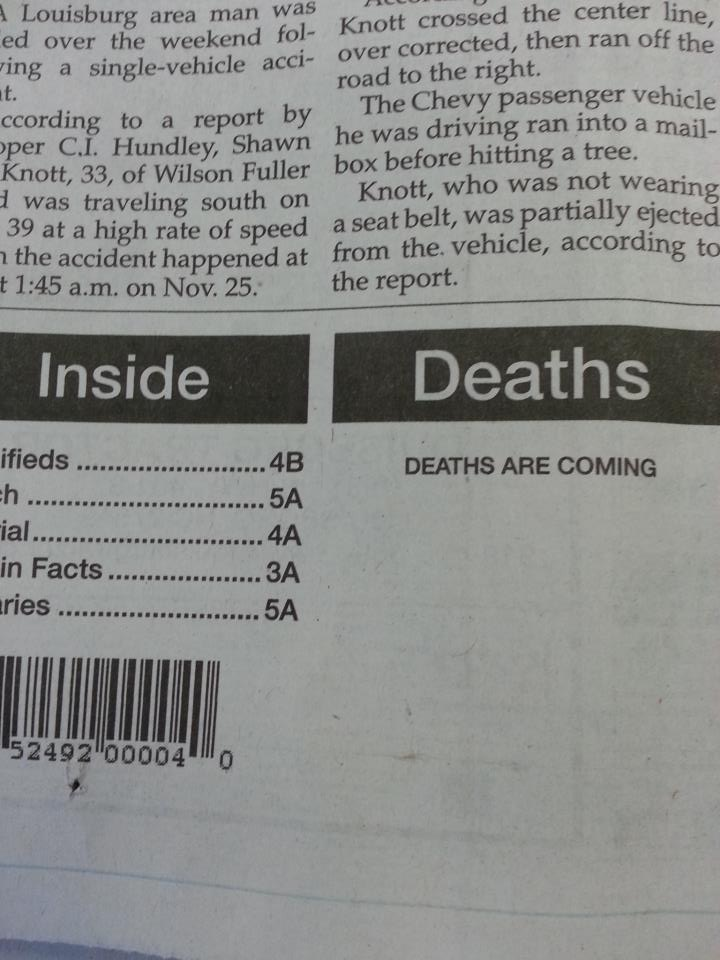 The most ominous misprint ever published by a newspaper.