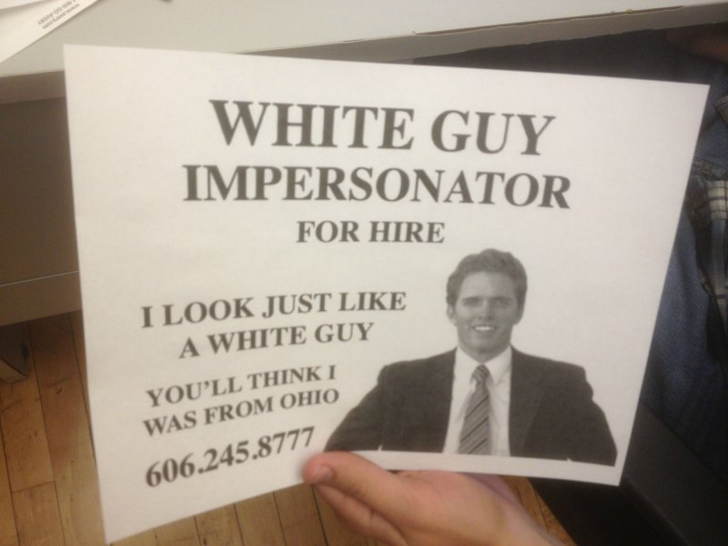 Flyer offers useful service for anyone in need of a white person.