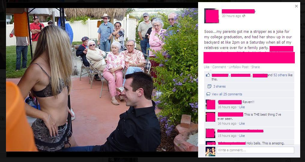 Most horrifically awkward graduation party ever documented on Facebook.