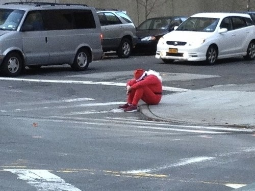 The first Santa Claus photo that truly captures how we feel about the holidays.