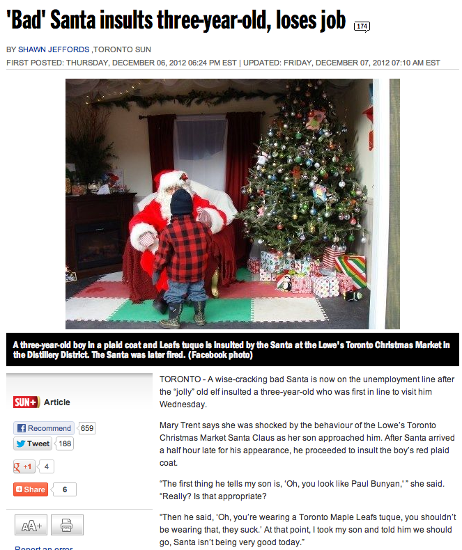 Canadian Santa fired for being extremely un-Canadian.