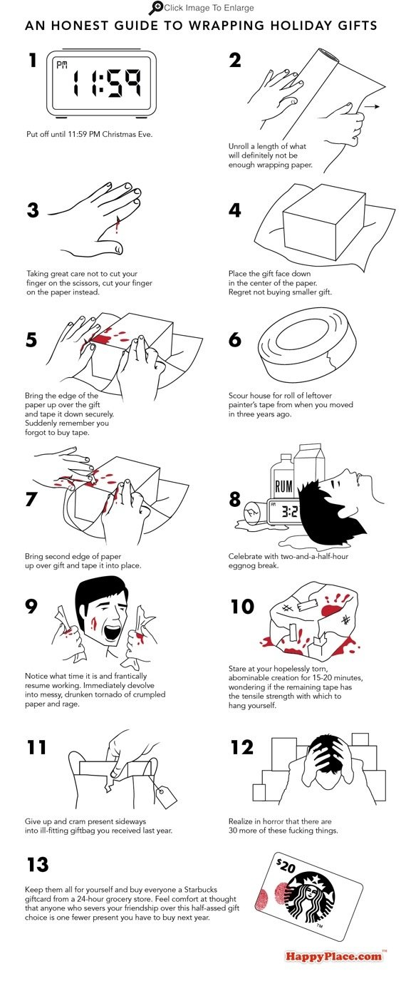 A painfully honest guide to wrapping your holiday gifts.