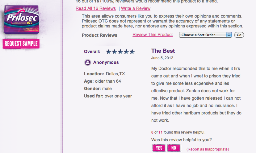 Possibly the best online review a heartburn medication could recieve from an ex-con.