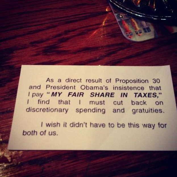 Republicans now taking out their hatred for Obama on waiters.