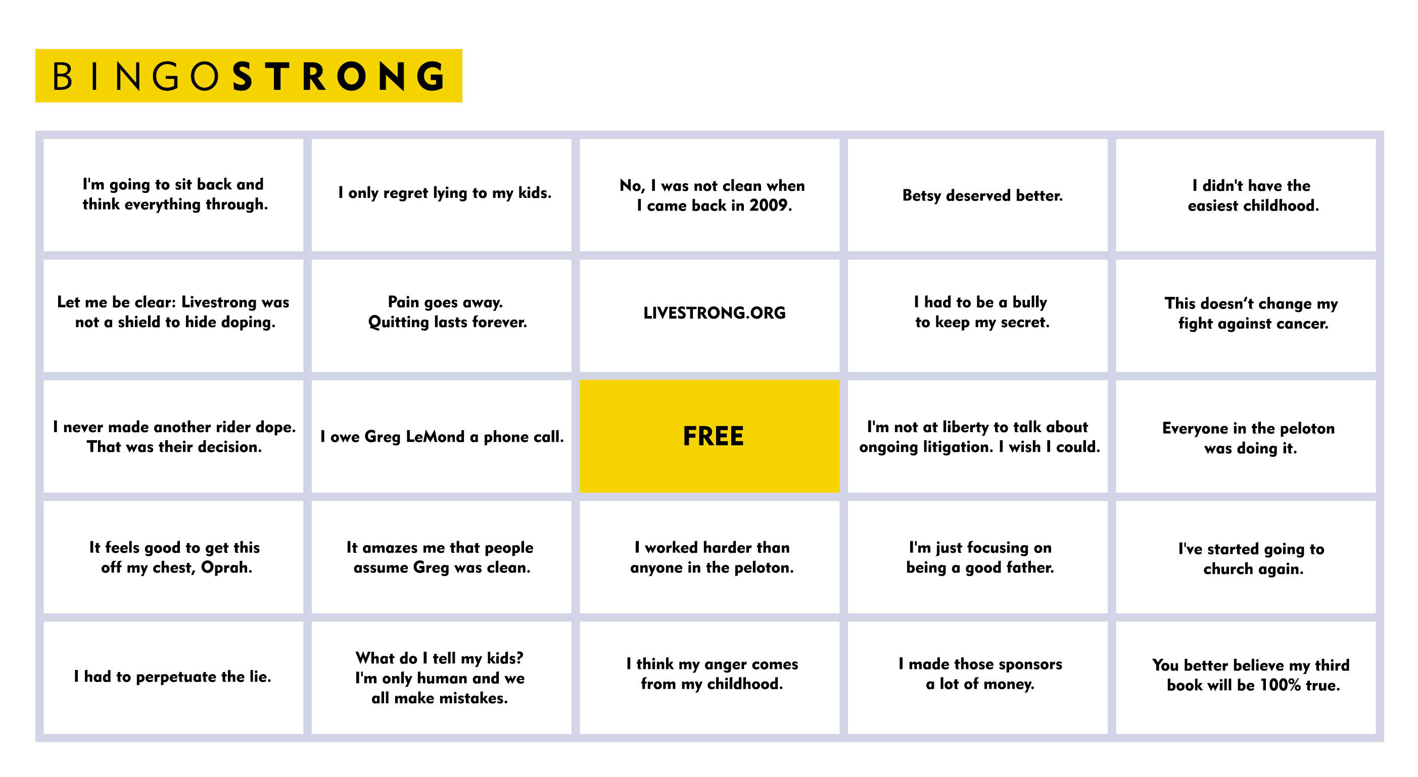 Bingo game for Oprah's Lance Armstrong interview will help you enhance your viewing performance.