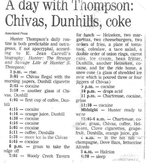 Hunter S. Thompson's daily routine will make you feel better about your behavior this weekend.