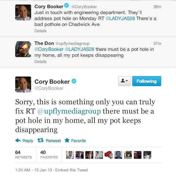Newark Mayor Cory Booker tweets words of encouragement to local pothead.