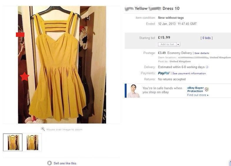 Woman accidentally includes her genitals in eBay auction for her dress.