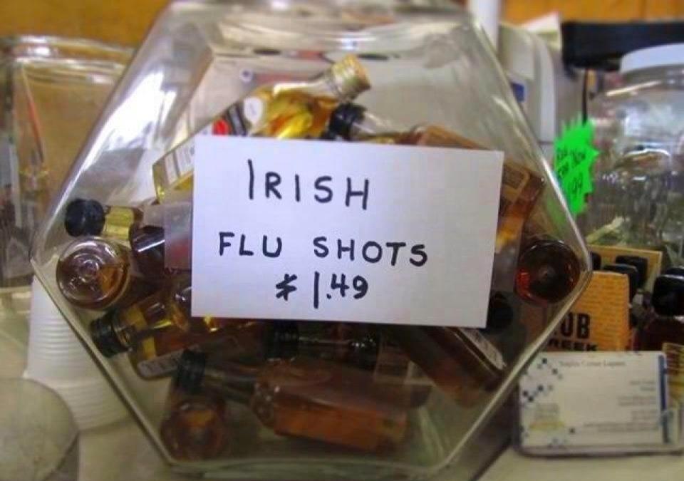 Liquor store uses ethnic stereotypes to capitalize on flu epidemic.