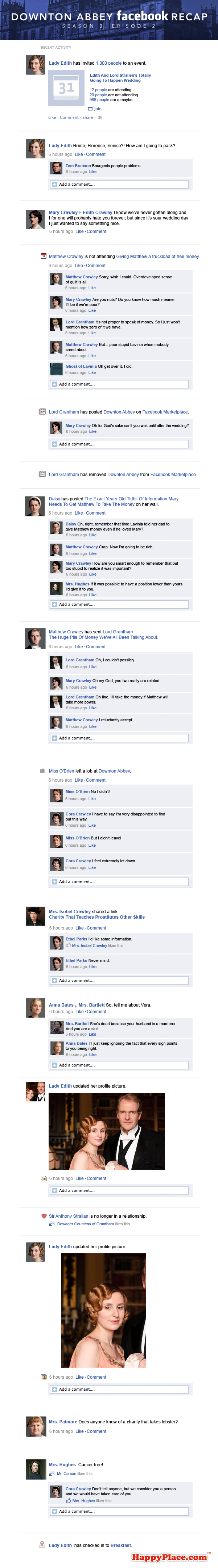 If Downton Abbey took place entirely on Facebook: Season 3, Episode 2.