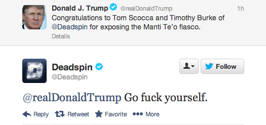 The only correct way to respond to Twitter praise from Donald Trump.