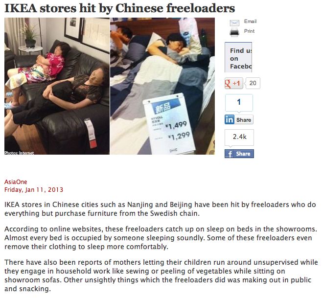 Chinese IKEA stores overrun with people sleeping, eating, and making out on their furniture.