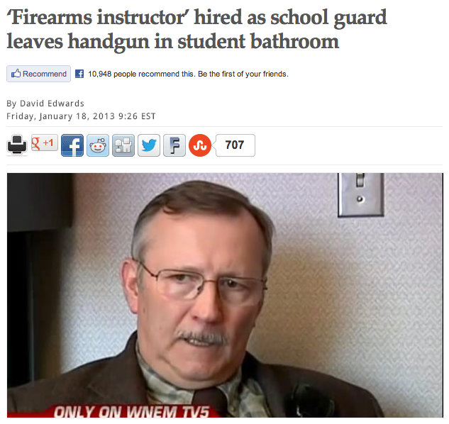 Armed guard in school proves having armed guards in schools is a terrible idea.