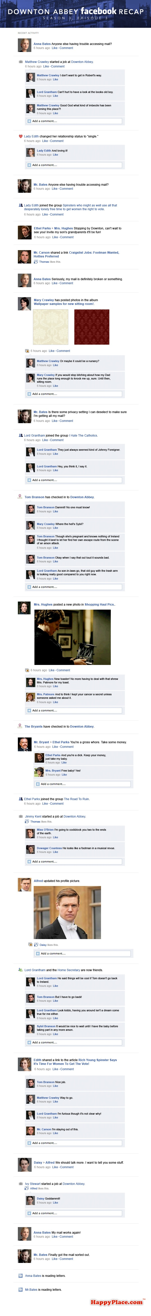 If Downton Abbey took place entirely on Facebook: Season 3, Episode 3.
