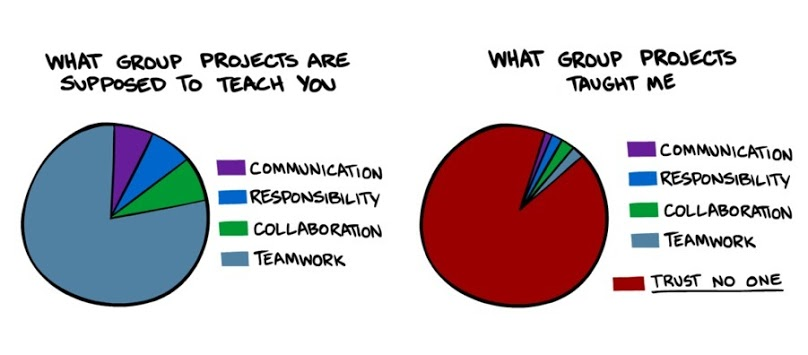 A pie chart that accurately depicts what people learn from working together.