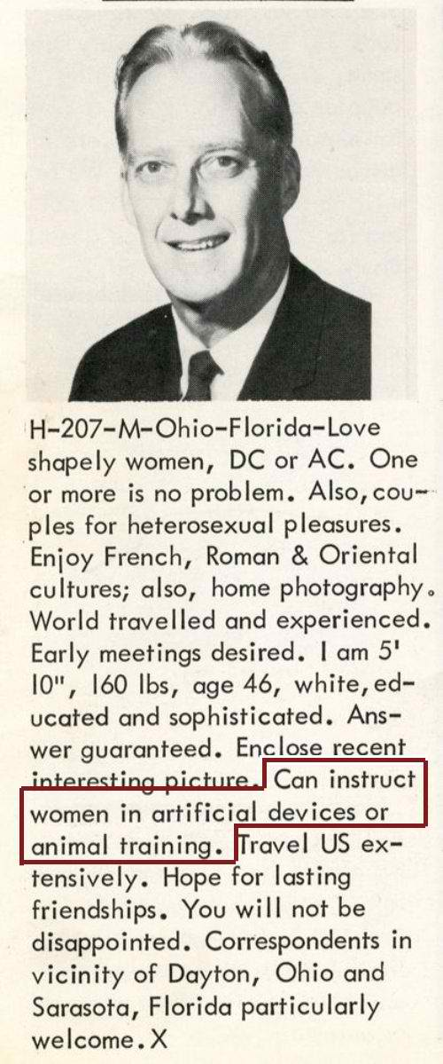 Proof that dating ads were just as creepy even before the Internet was invented.