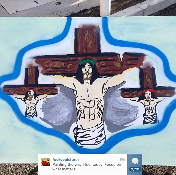 Chris Brown painting compares his fight over a parking space to the crucifixion of Jesus Christ.