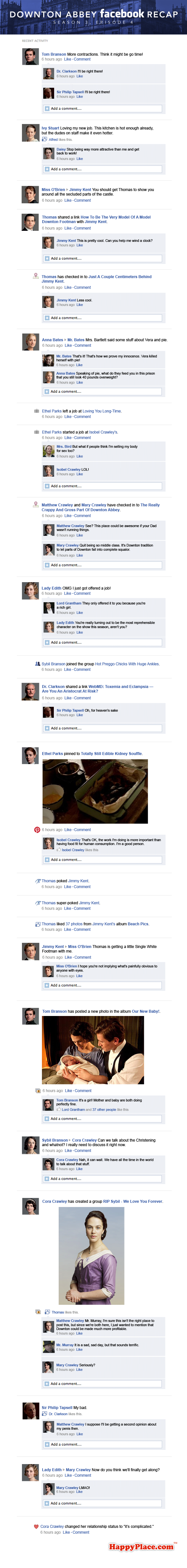 If Downton Abbey took place entirely on Facebook: Season 3, Episode 4.