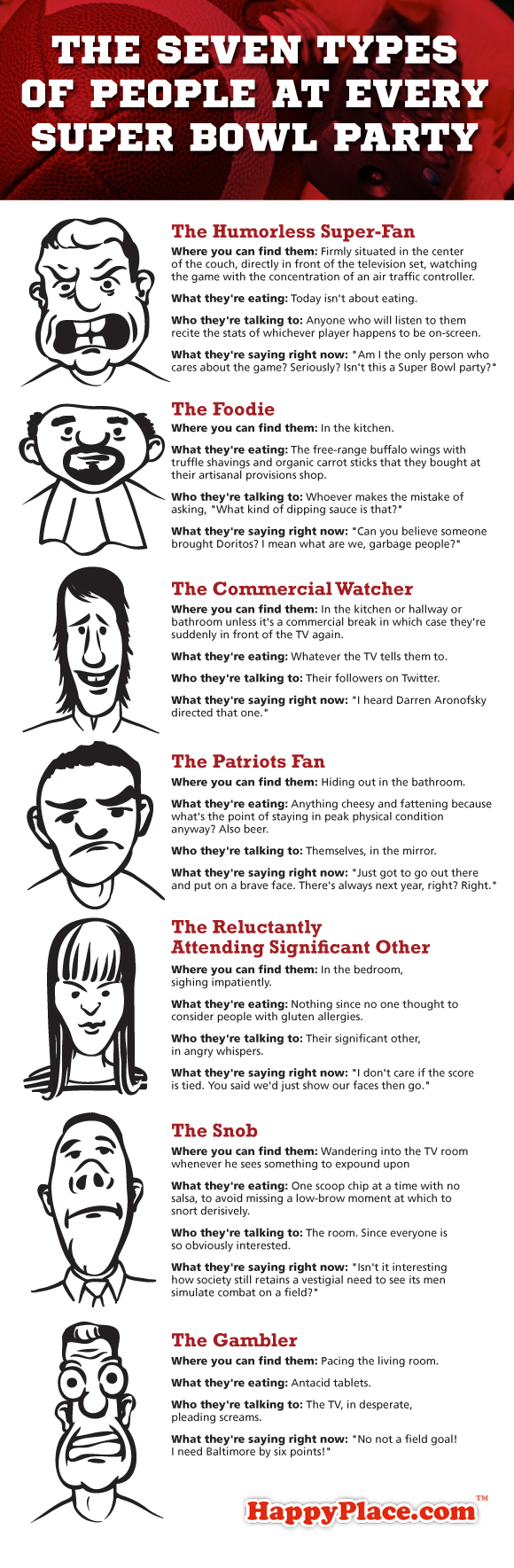 The seven types of people at every Super Bowl party.