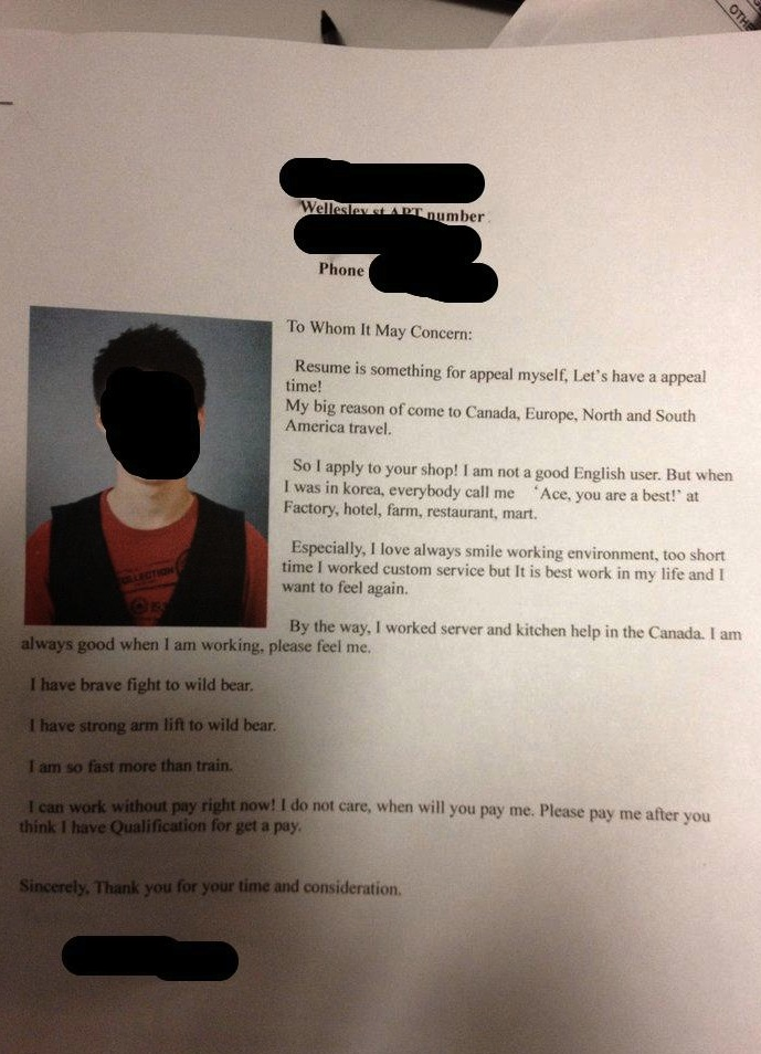 A cover letter so enthusiastic it doesn't matter it's barely in English.