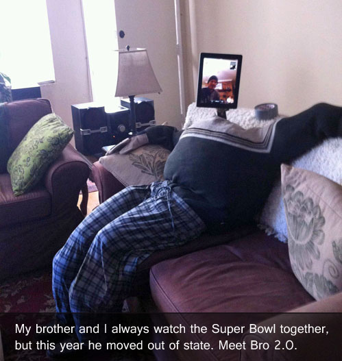 The creepiest way to watch the Super Bowl together when you're long-distance.