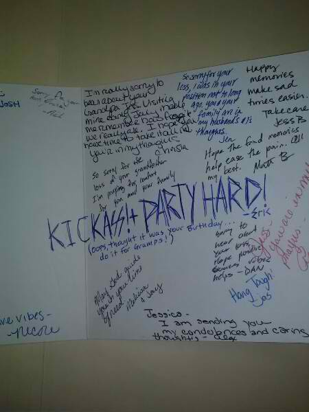 condolence card accidentally calls for massive party to honor dead
