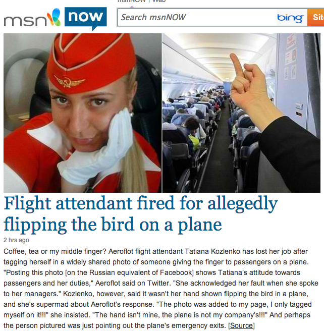 Flight attendant fired for doing exactly what all flight attendants do to us when we aren't looking.