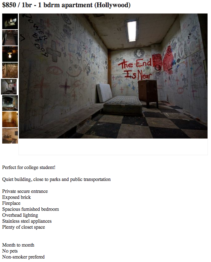 Perhaps the most terrifying Craigslist apartment ad of all time.