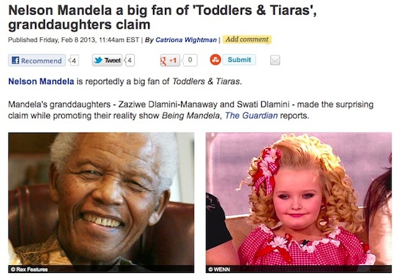Nelson Mandela loves television show we'd spend 27 years in prison to protest.