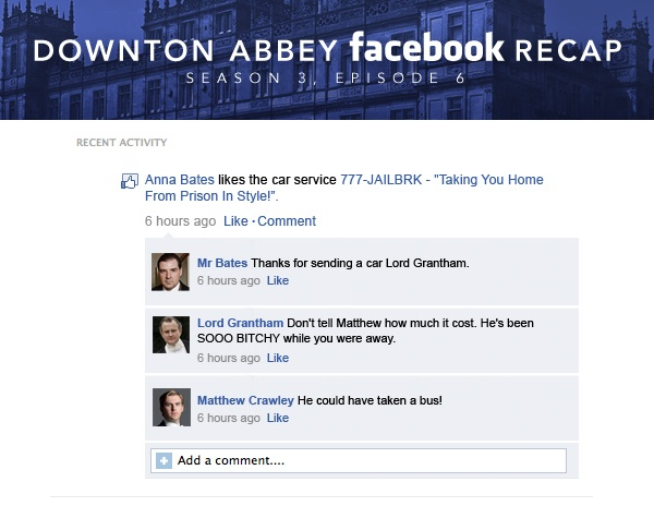 If Downton Abbey took place entirely on Facebook: Season 3, Episode 6.