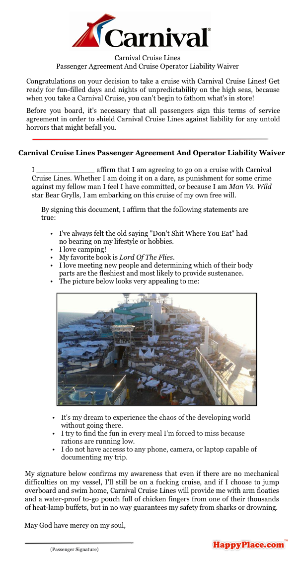 The revised liability waiver Carnival Cruise Lines will be making passengers sign from now on.