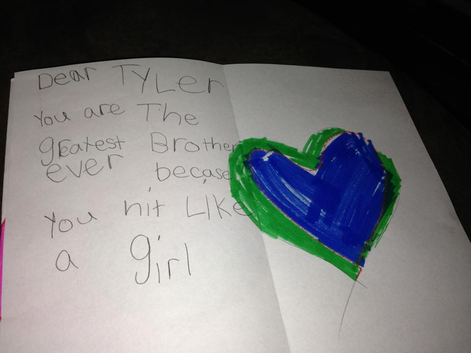 Little girl's Valentine to her brother is the most loving back-handed compliment ever written.