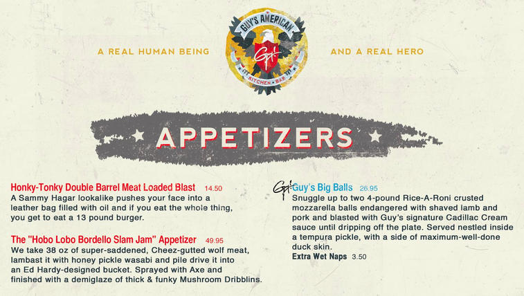 fake menu for guy fieri s times square restaurant someecards food
