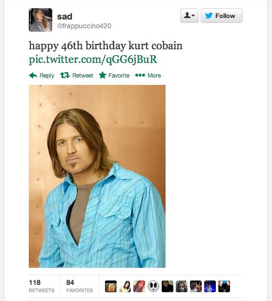 Kurt Cobain's birthday inspires delightful acts of trolling on Twitter.