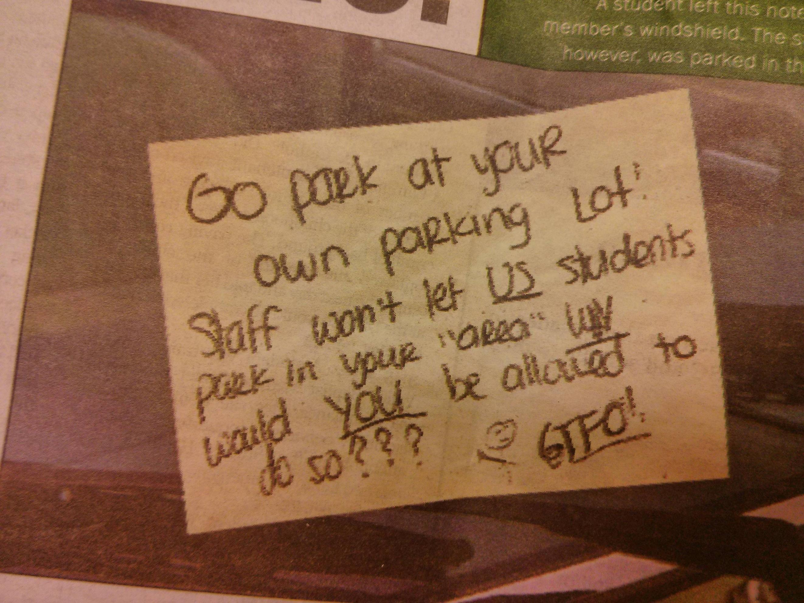 Student's furious parking note to professor makes it into school paper.