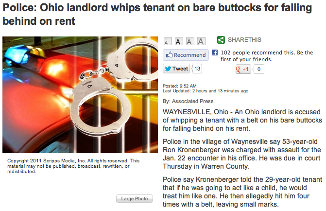A 29-year-old tenant was late on his rent. His landlord gave him the perviest penalty imaginable.