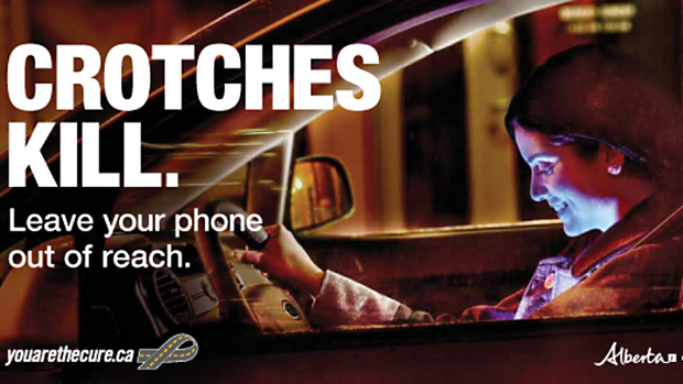 Texting-and-driving ad warns against the distraction of your glowing vagina.