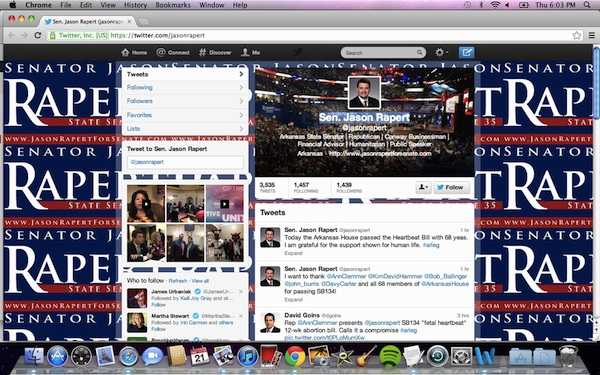 Why Arkansas State Senator Jason Rapert should really consider changing his twitter background.