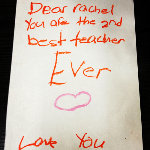 Kid gives brutally honest note of appreciation to teacher.