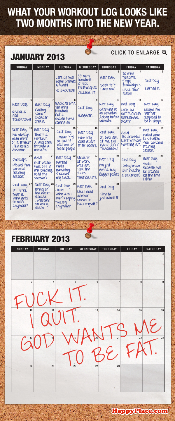 What your workout log looks like two months into the new year.