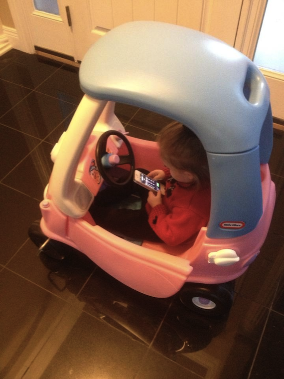 Proof that it's never too early to talk to your kids about texting while driving.