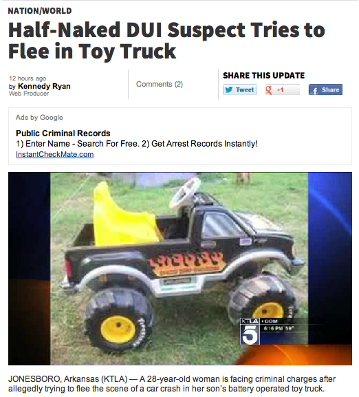 Drunk, pantsless woman leads police on most adorable car chase ever.