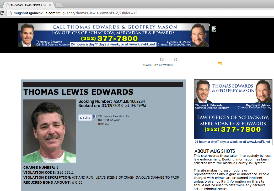 Lawyer looks just as good in his mugshot as he does in adjacent ad for his law office.